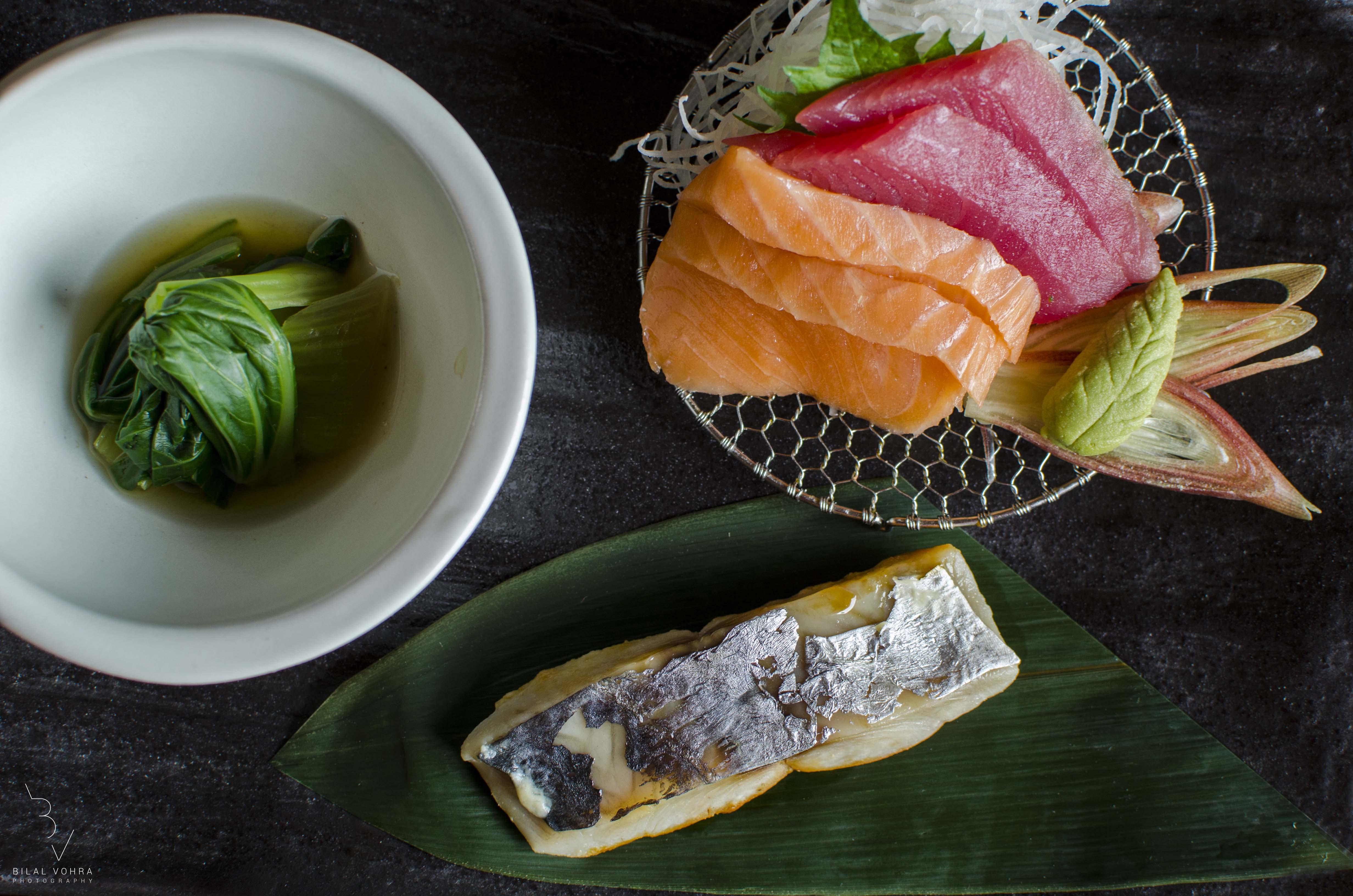 Sashimi Platter With Sake Salmon Maguro tuna Mackrel pockchoy kobachi small bowl